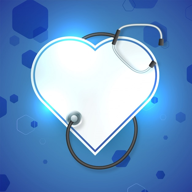 Glossy white paper heart with stethoscope on\ blue background for Medical concept.