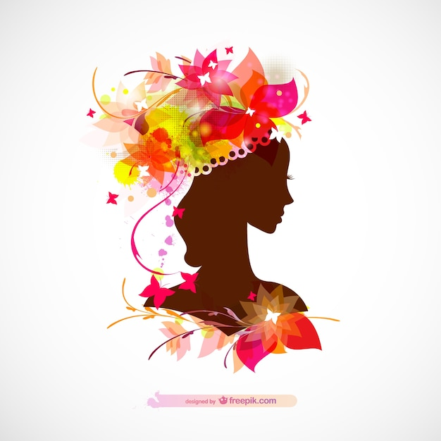 Glossy woman profile silhouette floral design Free Vector