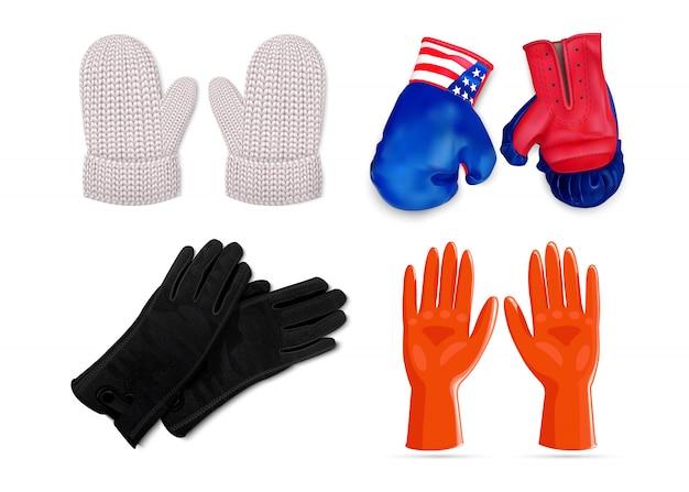 Gloves icon set Premium Vector