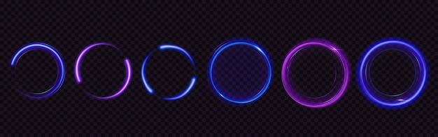 Cerchi luminosi con scintillii, effetto luce magica. set realistico di anelli e volute lucidi blu e viola, cornici rotonde del sentiero bagliore con polvere glitterata isolato su sfondo trasparente Vettore gratuito