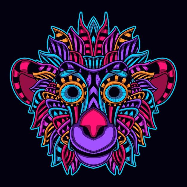 Glow color monkey Premium Vector
