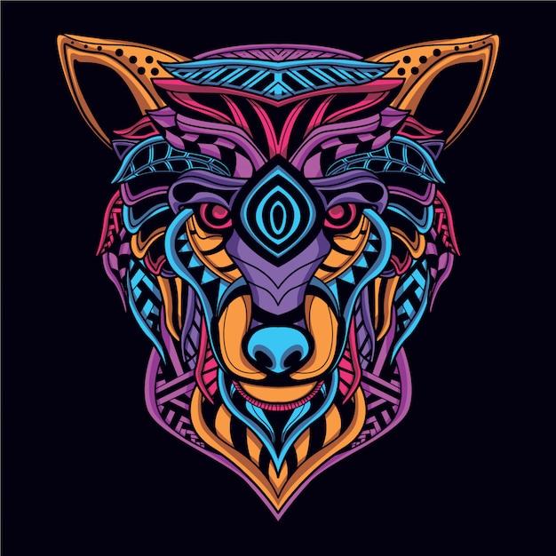 Glow in the dark decorative wolf head Premium Vector