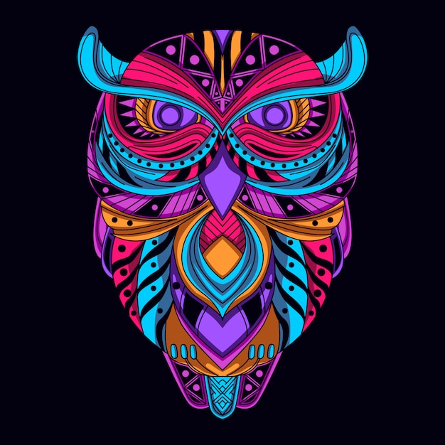 Glow in the dark owl Premium Vector