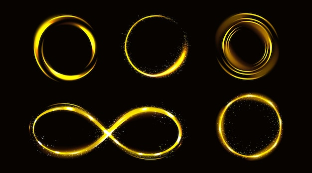 Glow gold infinity symbol and circles with sparkles Free Vector