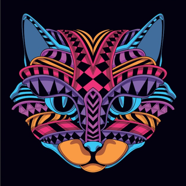 Светящиеся в темноте декоративные кошачьи лица Premium векторы