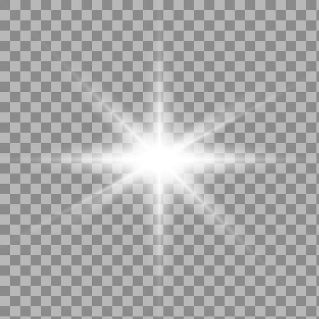 광선 격리 된 흰색 투명 조명 효과 세트, 렌즈 플레어, 폭발, 반짝이, 선, 태양 플래시, 스파크 및 별. 프리미엄 벡터
