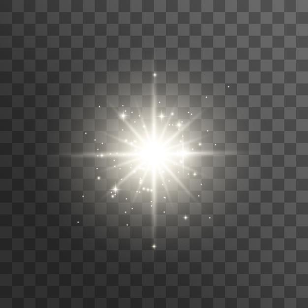 Свечение световой эффект. звезда вспыхнула блестками. яркая звезда. Premium векторы