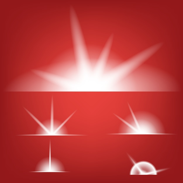 Glow light effect stars bursts with sparkles Premium Vector