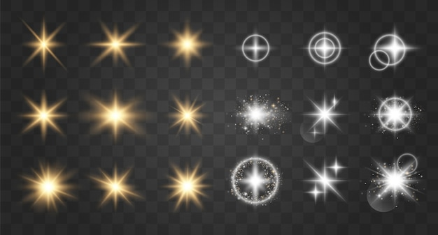 Glow light effect. vector illustration. christmas flash.  sparkling magical dust particles. bright star. transparent shining sun, bright flash. Premium Vector