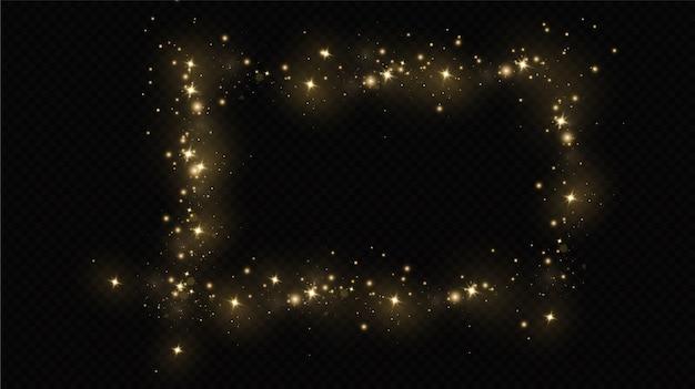 Эффект свечения. вектор блестки. сверкающие частицы волшебной пыли. искры пыли и золотые звезды сияют особым светом. Premium векторы