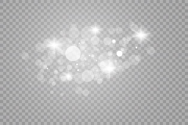 グローライト効果。白火花とキラキラ光る特殊光効果。輝く魔法の塵粒子 Premiumベクター