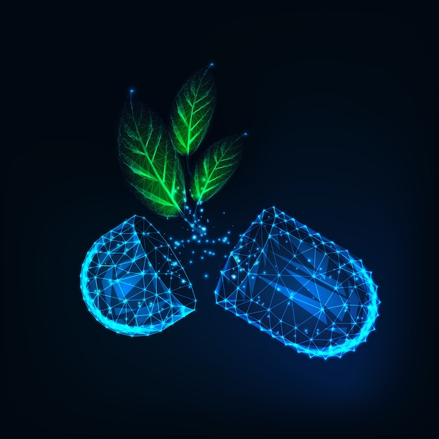 Glow low poly medicine capsule pills with green organic herb leaves on dark blue background. Premium Vector
