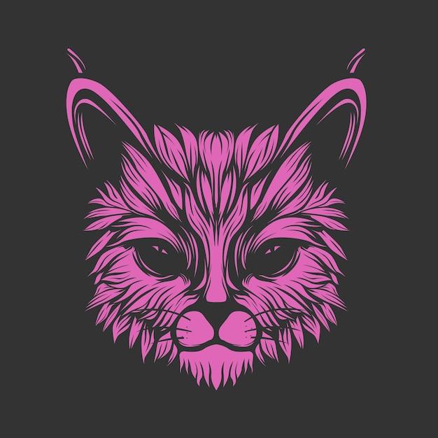 Glow purple cat face Premium Vector