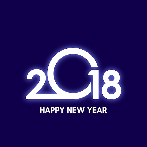 glowing 2018 happy new year design free vector