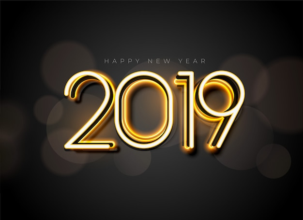 Glowing 2019 new year background design Free Vector