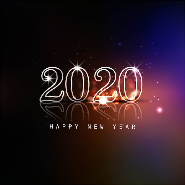 Glowing 2020 new year text colorful card Free Vector