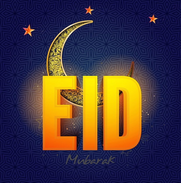 Glowing 3d Text Eid With Creative Crescent Moon And Stars For