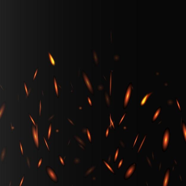 火の輝きとライト、暗い背景にリアルなイラストで熱烈な抽象的なレイアウト。輝く熱い火の要素を持つバナーテンプレート。 Premiumベクター