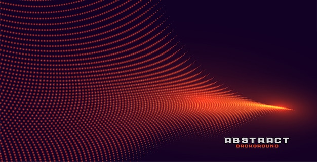 Glowing abstract orange particle wave background Free Vector