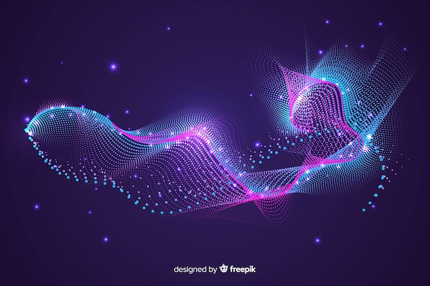 Glowing abstract shape of particles background Free Vector