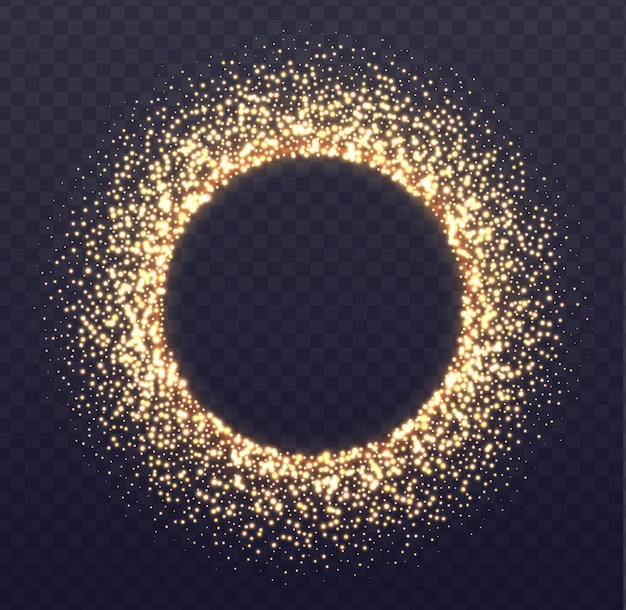 Glowing arch border with sparkles. fallen golden dust isolated on transparent Premium Vector