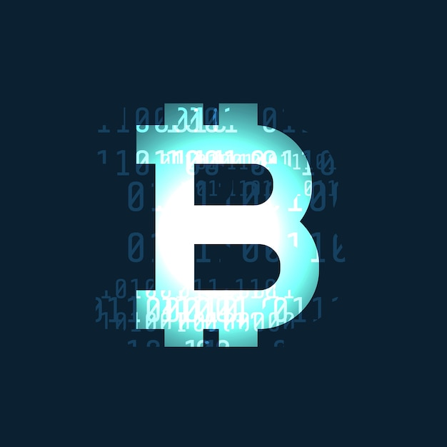 Glowing bitcoin cryptocurrency symbol on dark background Free Vector