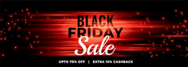 Glowing black friday sale banner with sparkles Free Vector