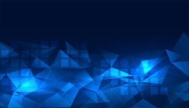 輝く青いデジタル低ポリ背景デザイン 無料ベクター