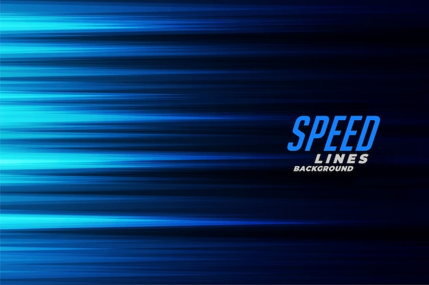 Glowing blue fast motion speed lines background Free Vector