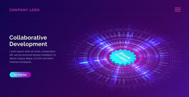 Glowing blue neon ring and black friday web template Free Vector