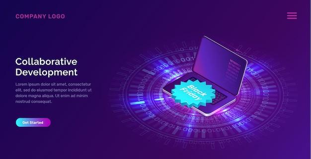 Светящиеся синие неоновые кольца, ноутбук Бесплатные векторы
