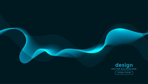 Glowing blue waves curves abstract background Free Vector