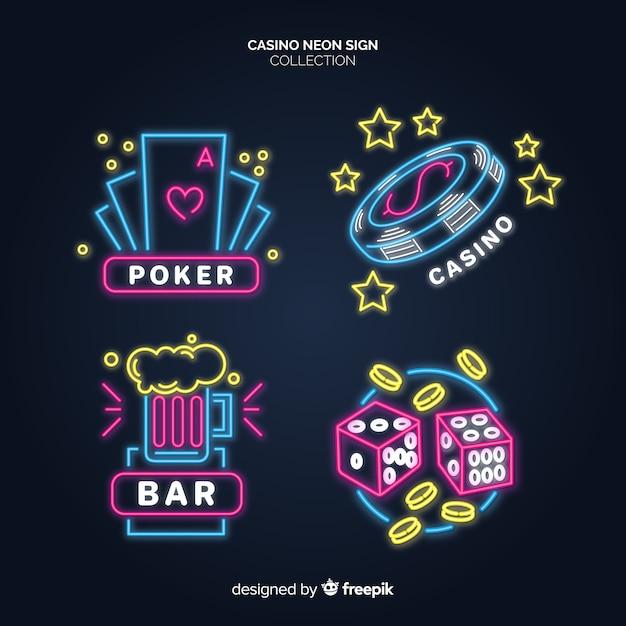 Светящиеся неоновые вывески казино Premium векторы