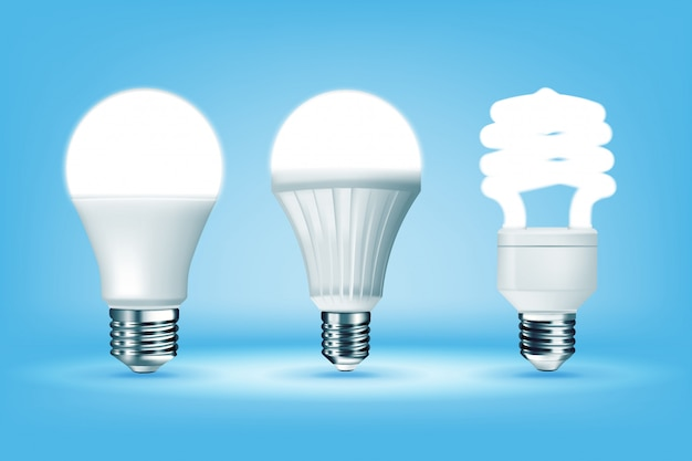 Glowing cfl and led light bulbs on blue background, realistic style. i |  Premium Vector