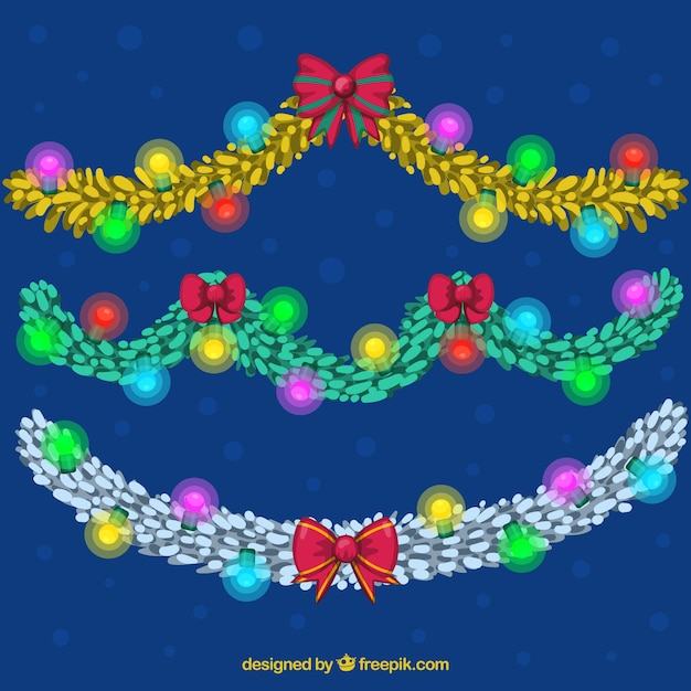 Glowing christmas lights on a dark blue background