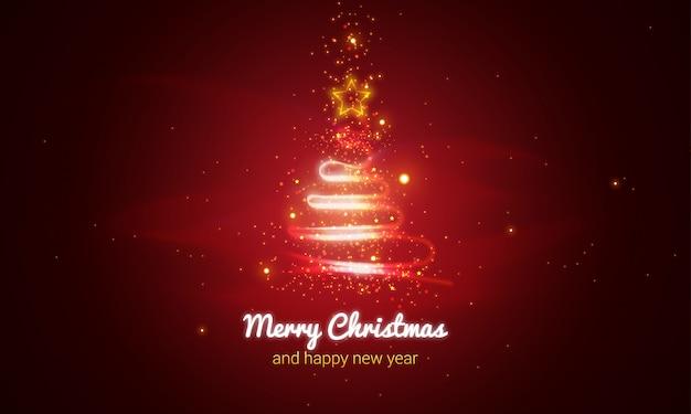 Glowing christmas tree background Premium Vector