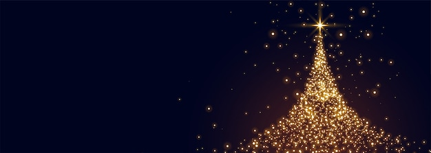 Glowing christmas tree made with sparkles Free Vector