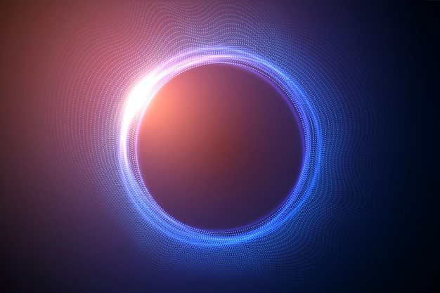 Glowing circles from dots with depth of field effect. black hole, sphere, circle. music, science, technology particles background. Premium Vector