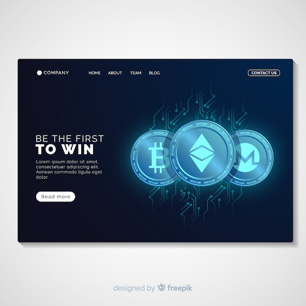 Glowing cryptocurrency landing page template Free Vector