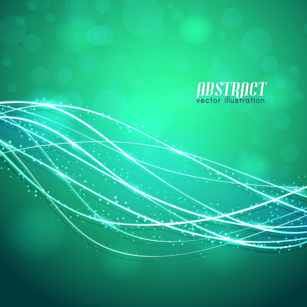 Glowing curved fibres with sparkles and blurred lights on green background Free Vector