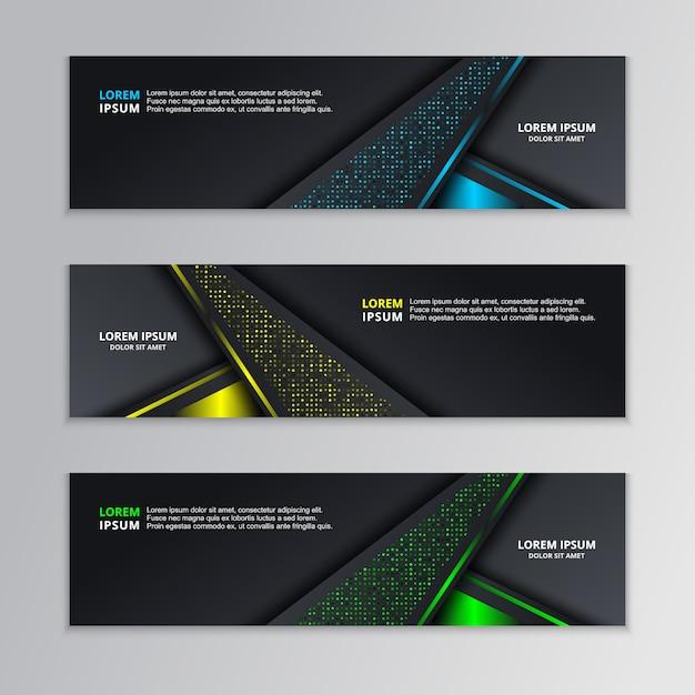 Glowing dark techno banner template Premium Vector