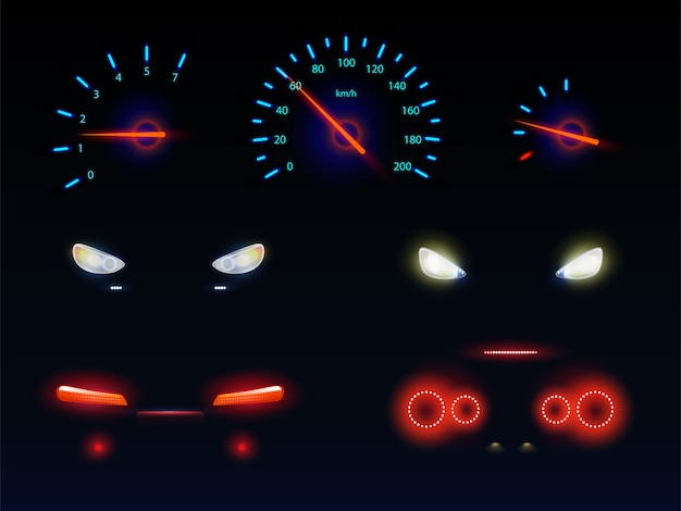 Glowing in darkness blue, red and white light, car front, back headlights, speedometer and tachometer scales, battery, fuel or oil level indicators 3d realistic vector set Free Vector