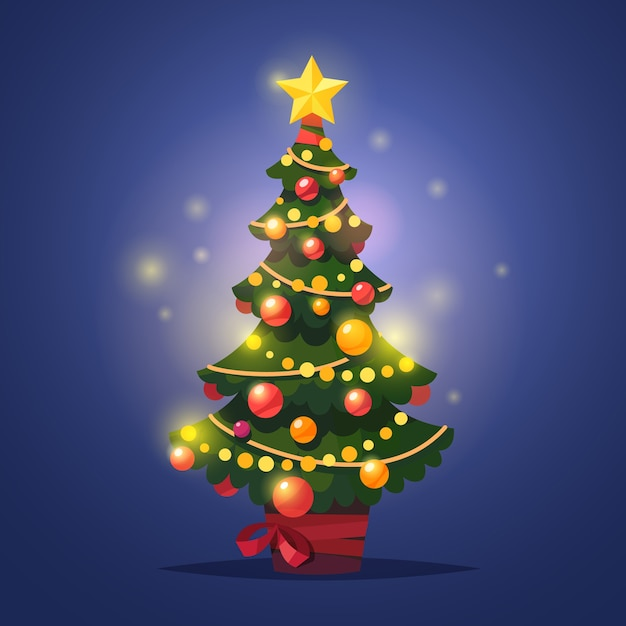 Glowing Decorated Winter Christmas Tree With Star Vector Free Download
