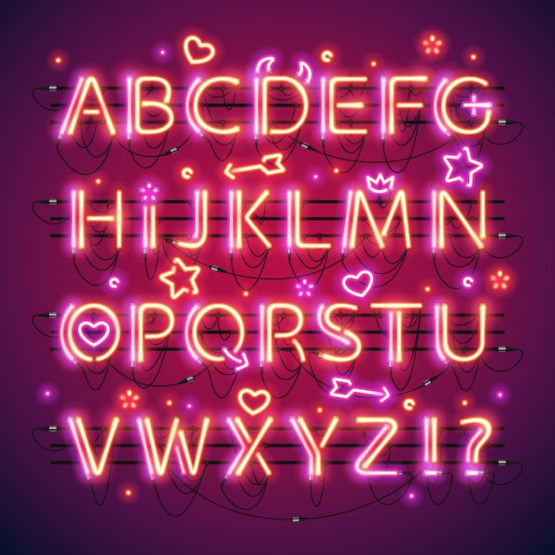 Glowing double neon red alphabet Premium Vector