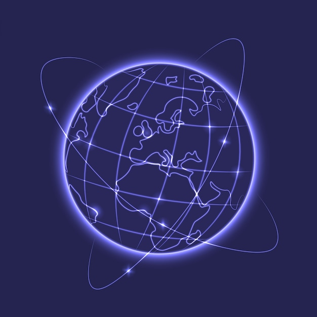 Glowing earth vector illustration Free Vector