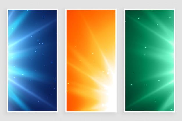 Glowing empty light rays burst banners set Free Vector