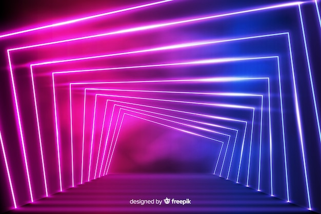 Glowing geometrical neon lights background Free Vector