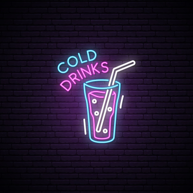 Glowing glass of cold drink. neon sign. Premium Vector