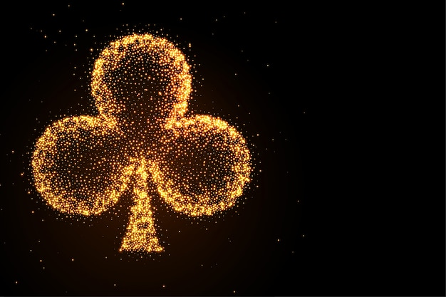 Glowing golden glitter clubs symbol black background Free Vector