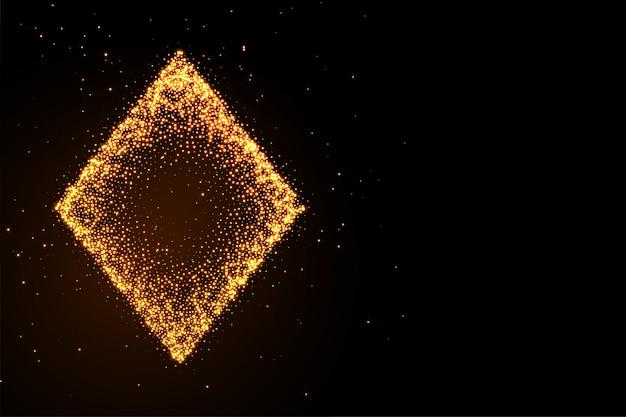 Glowing golden glitter diamond symbol black background Free Vector